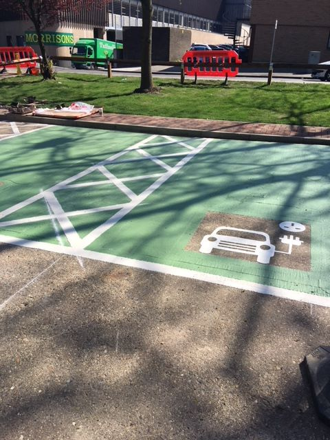 line marking electric car parking places