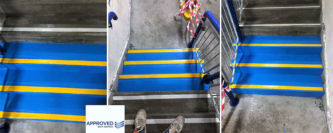 line marking stairs in yellow and blue