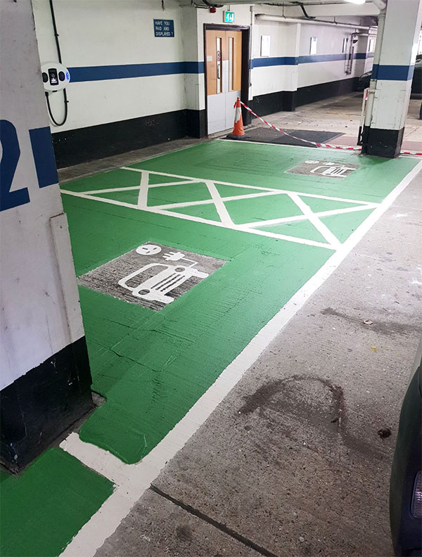 interior electric vehicle parking bays