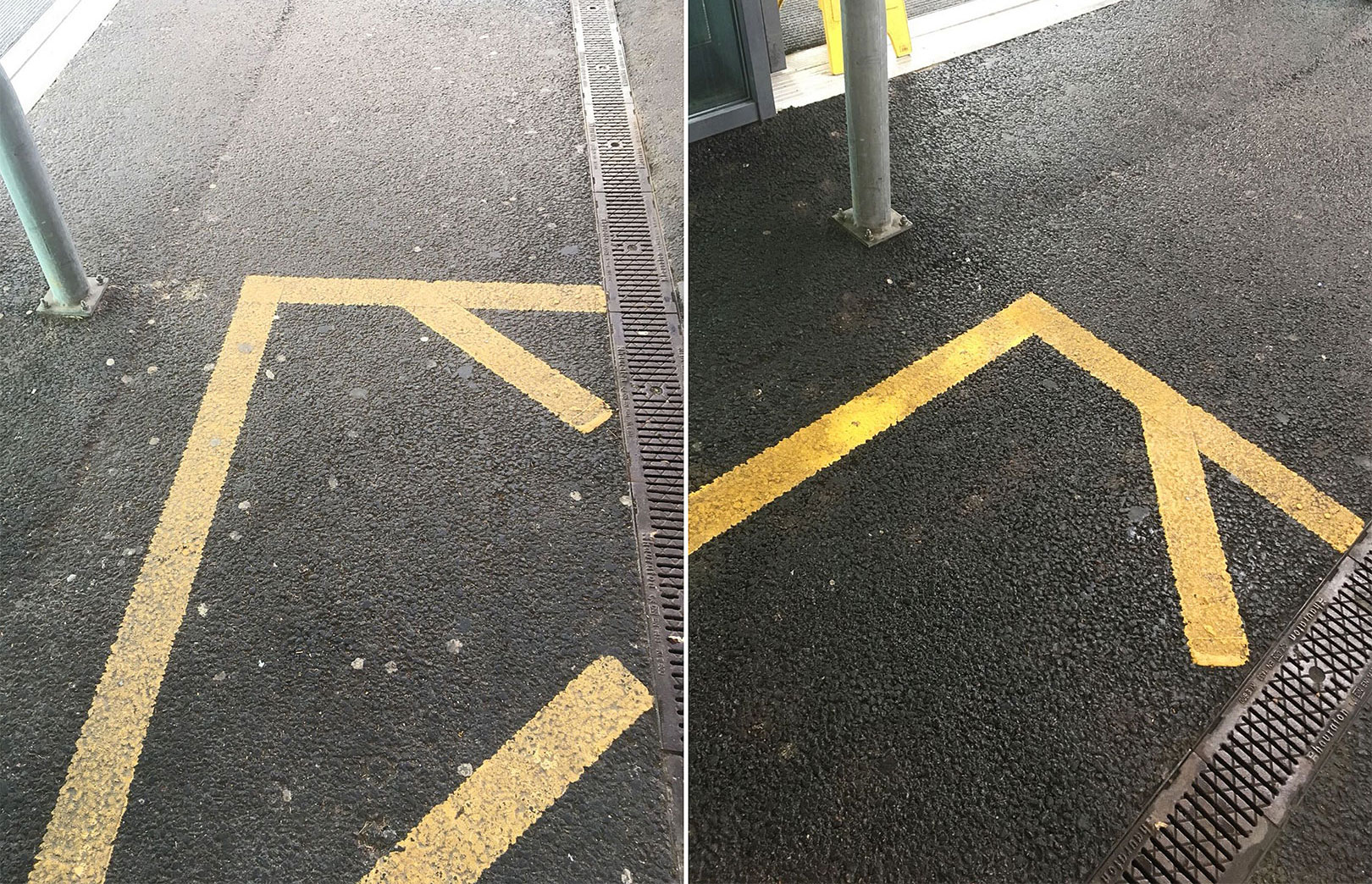 chewing gum removal on tarmac compare before and after cleaning