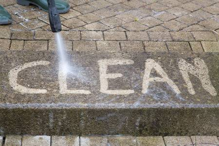 inscription with high-pressure water jet cleaning