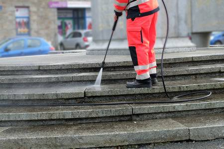 high-pressure water jet stairs cleaning